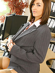 SexAtWork, Melanies perfect figure is flattered by the sexy lingerie under her suit skirt and blouse