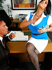 Hot short hair big tits babe sucks a hard cock and gets her pussy fucked in the office in these amazing pics