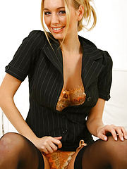 OfficesexStunning blonde Hayley Marie undresses from her sexy secretary outfit
