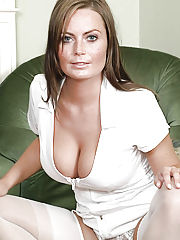 Naturally busty Alexis in nurse uniform with white stockings