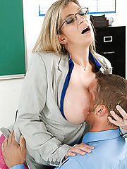 Office Depot, Sara Jay shows her student what it's like to fuck a teacher with huge tits.