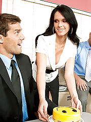 Sexy brunette boss welcomes back a old worker by fucking him.