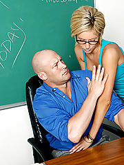 Victoria White sucks and fucks her professor so she can pass his class.