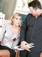 Office Hardcore, Cute blonde student Darcy Tyler studies her professor's cock